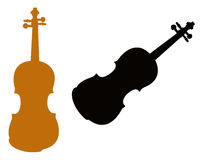 小提琴剪影 向量例证
