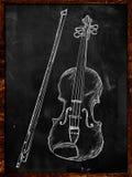 小提琴在黑板的图画剪影 免版税库存照片