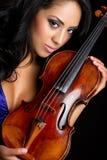 小提琴妇女 免版税图库摄影