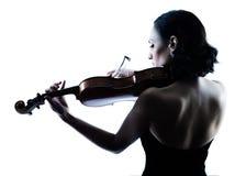 小提琴手被隔绝的妇女slihouette 免版税库存照片