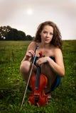 小提琴手画象  库存照片