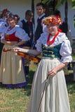 小提琴的年轻歌手女孩从传统服装的1波兰 免版税库存照片