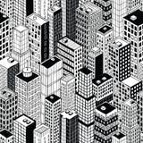 小摩天大楼城市无缝的样式- 向量例证