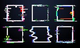 小故障方形的框架 时髦glitched正方形塑造,摘要动态几何框架以噪声小故障 畸变 库存例证
