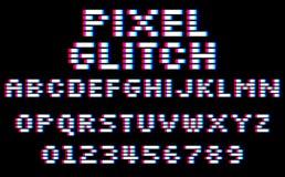小故障映象点字体 设置8个被咬住的样式拉丁字母和数字 库存例证