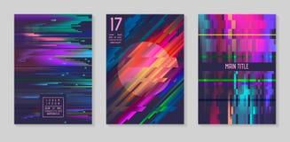 小故障未来派海报,被设置的盖子 行家小册子的,飞行物,招贴设计构成 时髦模板 向量例证