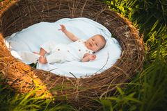 小新出生的每日关心 新生儿每日惯例 小儿童医疗保健 饲料、戏剧和睡眠 免版税库存图片