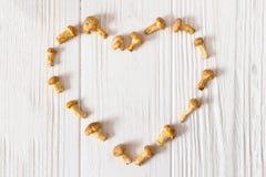 小新鲜的蘑菇黄蘑菇的心脏在白色木桌上的 免版税库存图片