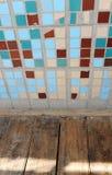 小方形的瓦片和木地板纹理  米黄,蓝色,绿松石和褐色 免版税库存照片