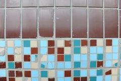 小方形的瓦片纹理  米黄,蓝色,绿松石和褐色 免版税库存图片