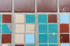 小方形的瓦片纹理  米黄,蓝色,绿松石和褐色 免版税图库摄影