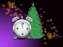 1小时和圣诞树 免版税库存图片