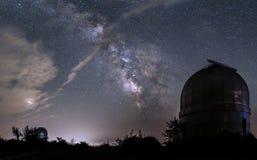 小望远镜圆顶在一个观测所在背景中  免版税库存照片