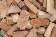 小木头芯片,各种各样的形状 库存照片