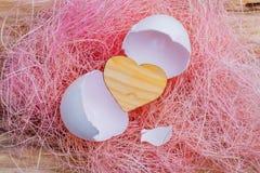 小木心脏从一个白鸡蛋孵化了 免版税图库摄影