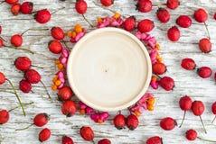 小木板材作为文本和纺锤山楂树和果子凋枯的莓果的一个地方白色破旧的木背景的 免版税库存图片