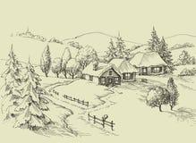 小村庄田园诗风景 向量例证
