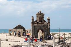 小村庄Dhanushkodi的废墟 免版税库存图片