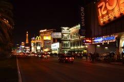 小条,巴黎拉斯维加斯,夜,路,城市,光 免版税库存照片
