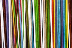小树枝五颜六色的桶 背景垂直条纹 免版税库存图片