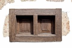小棕色木窗口 canaria gran 免版税库存图片