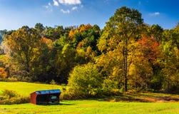 小棚子和秋天树,在农村约克县,宾夕法尼亚 库存图片