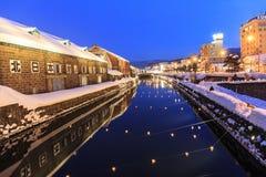 小樽运河在晚上 免版税库存图片