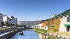 小樽,日本- 2017年10月19日:小樽cana的未知的游人 免版税库存照片