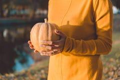 小橙色南瓜在妇女` s手上 库存图片