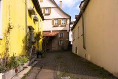 小欧洲胡同德语安置鹅卵石街道处所Co 库存图片