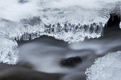 小河冻结的冬天 库存照片