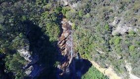 小河和瀑布在长得太大的森林的山 影视素材