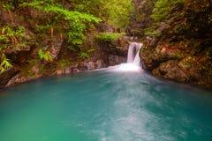 小河和瀑布深水池  免版税图库摄影