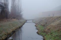 小河在有雾的早晨 库存照片