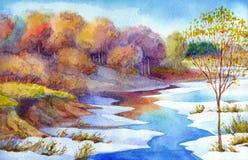 小河在森林谷冬日 水彩风景 皇族释放例证