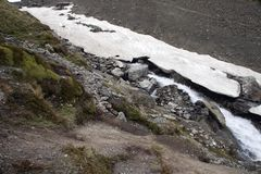 小河夏天场面与在底层冰的冰川 库存照片