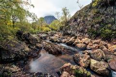 小河流经在斯凯岛小岛的岩石  免版税库存照片