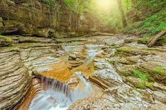 小河用在深峡谷的纯净的水 免版税库存图片