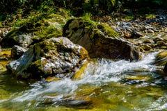 小河用快速流动的清楚的水 免版税图库摄影