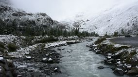 小河的行动从Kaunertal冰川瀑布的在蒂罗尔,奥地利 股票录像