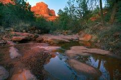 小河红色岩石 库存图片