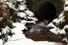 小河通过一个隧道在冬天 库存图片