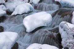 小河降雪冬天 免版税库存图片