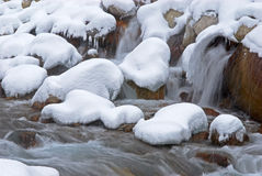 小河降雪冬天 免版税库存照片