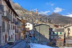 小法国镇在阿尔卑斯。 免版税库存图片