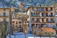 小法国镇在阿尔卑斯。 免版税库存照片