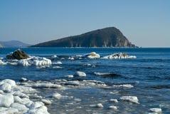 小海岛在冬天海17 免版税库存图片