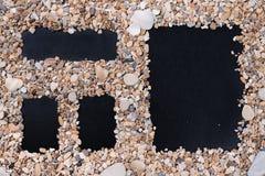 小海石头和壳与日历,空的菜单表单与一个自由空间在文本下,标题、广告、图片和日期 库存照片