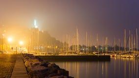 小港口在晚上 库存图片