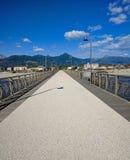 小游艇船坞二皮耶特拉桑塔码头的看法  免版税图库摄影